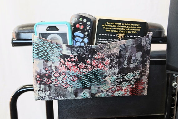 Mosaic Single Pocket Armrest Bag for Wheelchair, Walker or other Mobility Aides, Optional Closure Styles Available