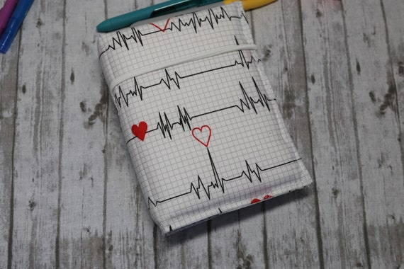 EKG Heartbeat Line Handcrafted Fabric Travelers Notebook