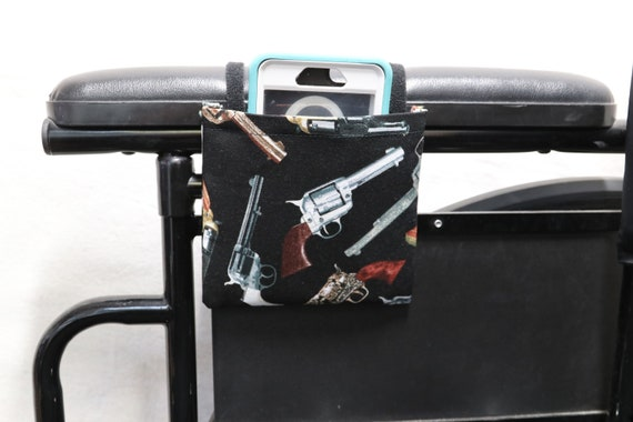 Revolvers Armrest Hanging Cell Phone Holder for a Wheelchair, Walker or other Mobility Aides