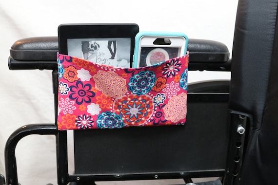 Colorful Mandala Single Pocket Armrest Bag for Wheelchair - Optional Closures are Available