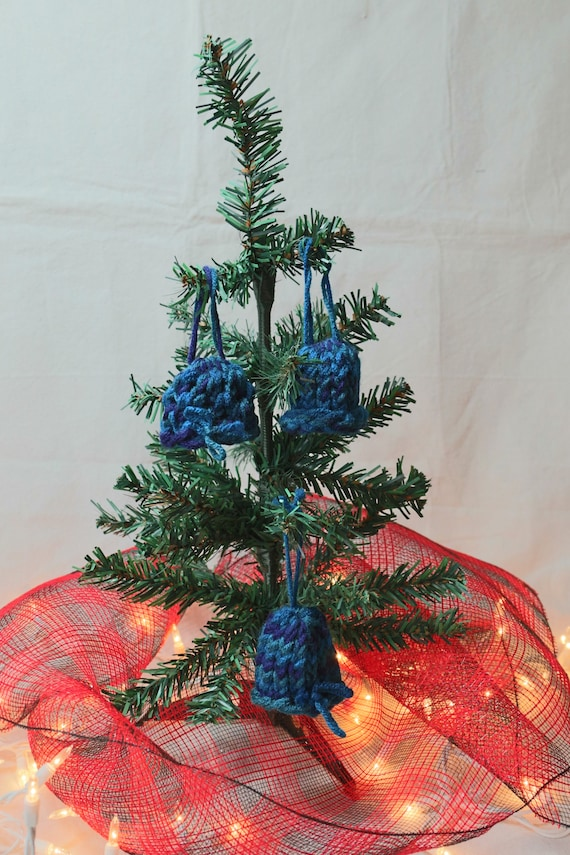 Set of 3 Handknit Christmas Ornaments - Blue and White Knit Stocking Caps