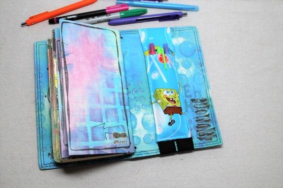 Spongebob and Patrick Journal Multiple Pen Holder, Planner , Journal Pen Holder,  Travel Journal Pen Holder Inside Outside