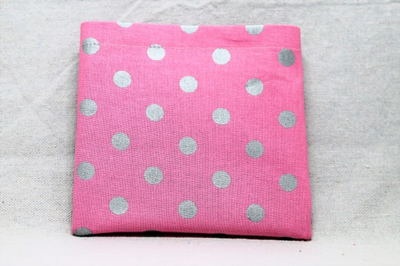 Pink with Silver Dots Armrest Hanging Cell Phone Holder for a Wheelchair, Walker or other Mobility Aides
