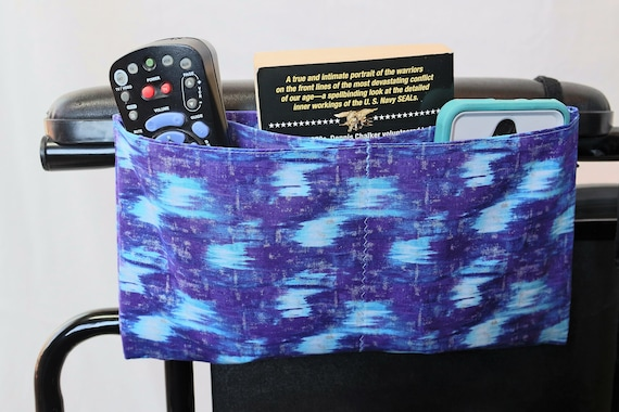Purple and Bright Blue Multiple Pocket Armrest Bag for Wheelchair, Walker or other Mobility Aides