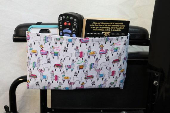 Festive Llamas Themed Single Pocket Armrest Bag for Wheelchair - Optional Closure Styles Available