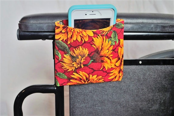 Orange Sunflowers Armrest Hanging Cell Phone Holder for a Wheelchair, Walker or other Mobility Aides
