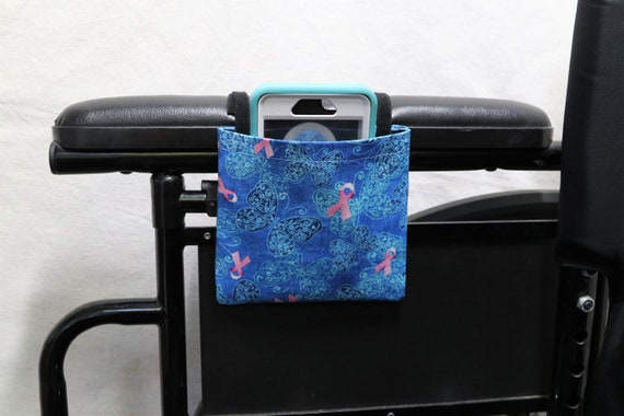 Breast Cancer Awareness Armrest Hanging Cell Phone Holder for a Wheelchair, Walker or other Mobility Aides