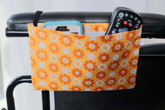 Orange Flowers Single Pocket Armrest Bag for Wheelchairs