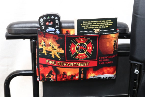 Fire Fighters Single Pocket Armrest Bag for Wheelchair - Optional Closure Styles Available