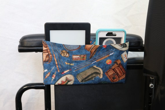 Tackle and Fishing Poles Single Pocket Armrest Bag for Wheelchair - Optional Closure Styles Available