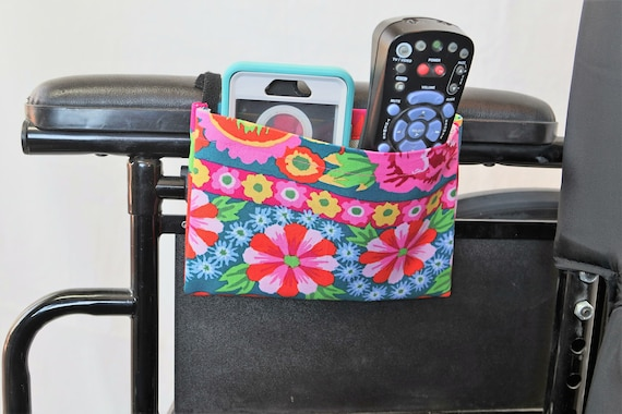 Bright Hawaiian Flowers Single Pocket Armrest Bag for Wheelchair, Walker or other Mobility Aides