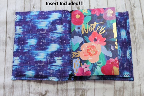 Purple and Blues Mini Handcrafted Fabric Travelers Notebook