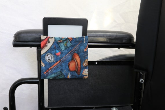 Fishing Gear Armrest Hanging Cell Phone or E-reader Holder for a Wheelchair, Walker or other Mobility Aides