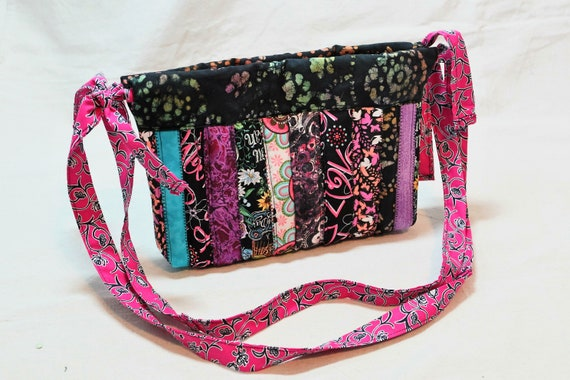 Rainbow and Floral One of a Kind Hobo Style Purse