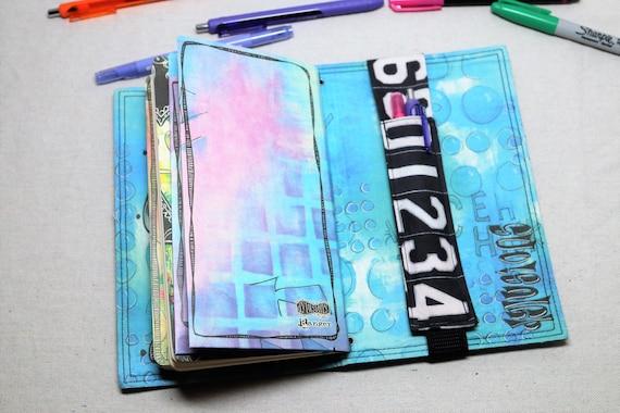 Typed Numbers on Dark Gray Travelers Journal Multiple Pen Holder, Planner , Journal Pen Holder,  Travel Journal Pen Holder Inside Outside