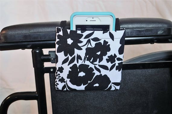 Black and White Flowers Armrest Hanging Cell Phone Holder for a Wheelchair, Walker or other Mobility Aides