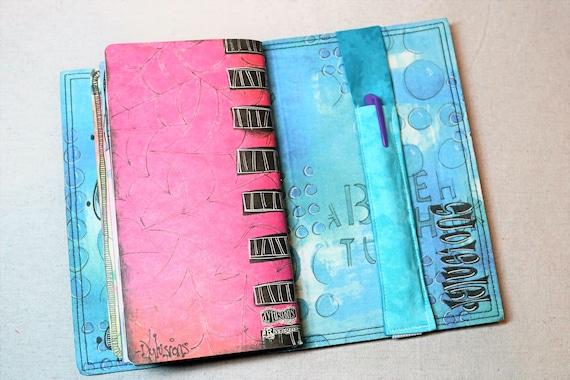 Marbled Teal Travelers Journal Single Pen Holder, Planner , Journal Pen Holder,  Travel Journal Pen Holder Inside Outside