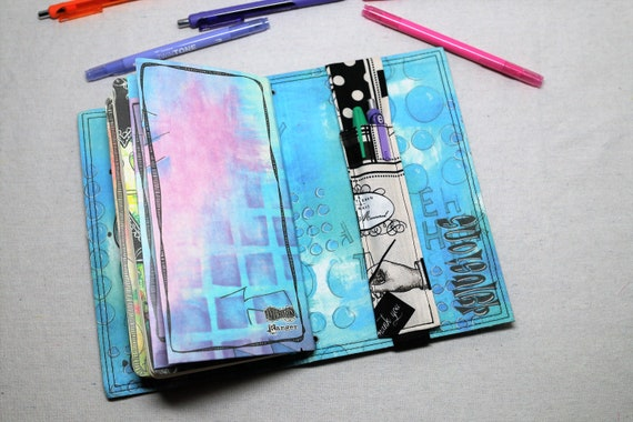Daper Themed Travelers Journal Multiple Pen Holder, Planner , Journal Pen Holder,  Travel Journal Pen Holder Inside Outside