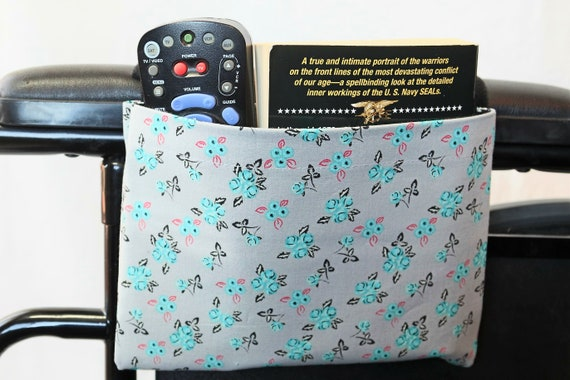 Gray with Teal Flowers Single Pocket Armrest Bag for Wheelchair, Walker or other Mobility Aides