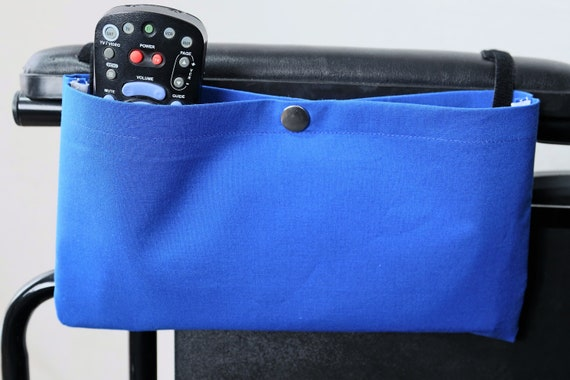 Snap Closure Blue Solid Color Single Pocket Armrest Bag for Wheelchair, Walker or other Mobility Aides