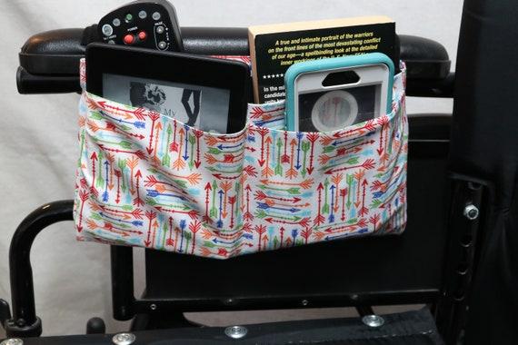 Arrow Themed Multiple Pocket Armrest Bag for Wheelchair - Optional Snap Closure is Available