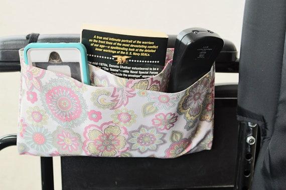 Vintage Flowers Multiple Pocket Armrest Bag for Wheelchair, Walker or other Mobility Aides