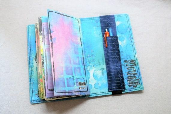 Blue Patterned Pocket Travelers Journal Multiple Pen Holder, Planner, Journal Pen Holder, Travel Journal Pen Holder Inside Outside