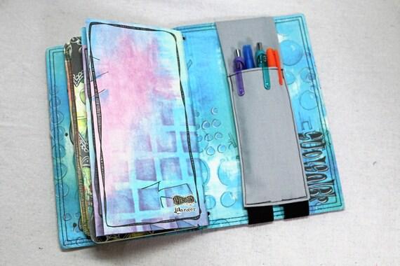 Solid Gray Pocket Travelers Journal Multiple Pen Holder, Planner , Journal Pen Holder,  Travel Journal Pen Holder Inside Outside