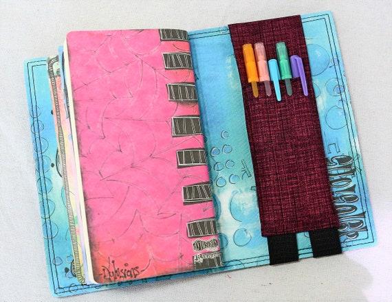 Burgandy, Pink and Black Travelers Journal Multiple Pen Holder, Planner , Journal Pen Holder,  Travel Journal Pen Holder Inside Outside