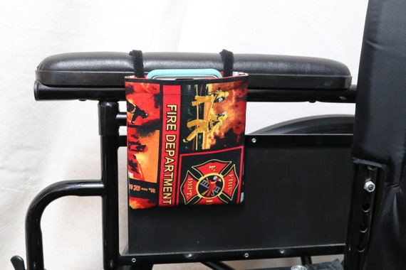 Fire Department Hanging Cell Phone Holder for a Wheelchair, Walker or other Mobility Aides