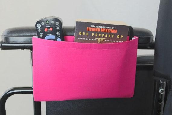 Pink Solid Color Single Pocket Armrest Bag for Wheelchairs