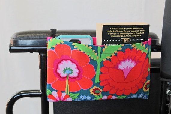 Orange Flowers Single Pocket Armrest Bag for Wheelchair, Walker or other Mobility Aides