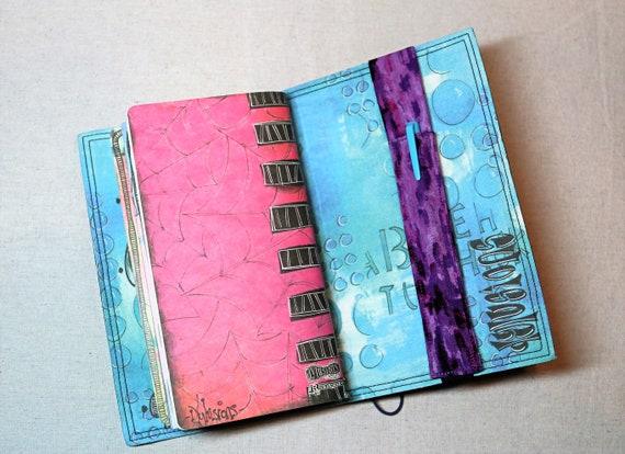 Purple and Black Travelers Journal Single Pen Holder, Planner , Journal Pen Holder,  Travel Journal Pen Holder Inside Outside