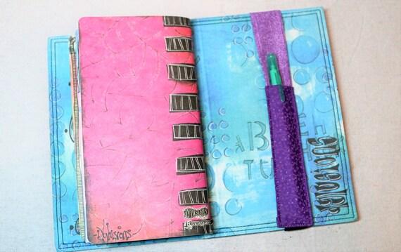 Purples Pen Travelers Journal Single Pen Holder, Planner , Journal Pen Holder,  Travel Journal Pen Holder Inside Outside