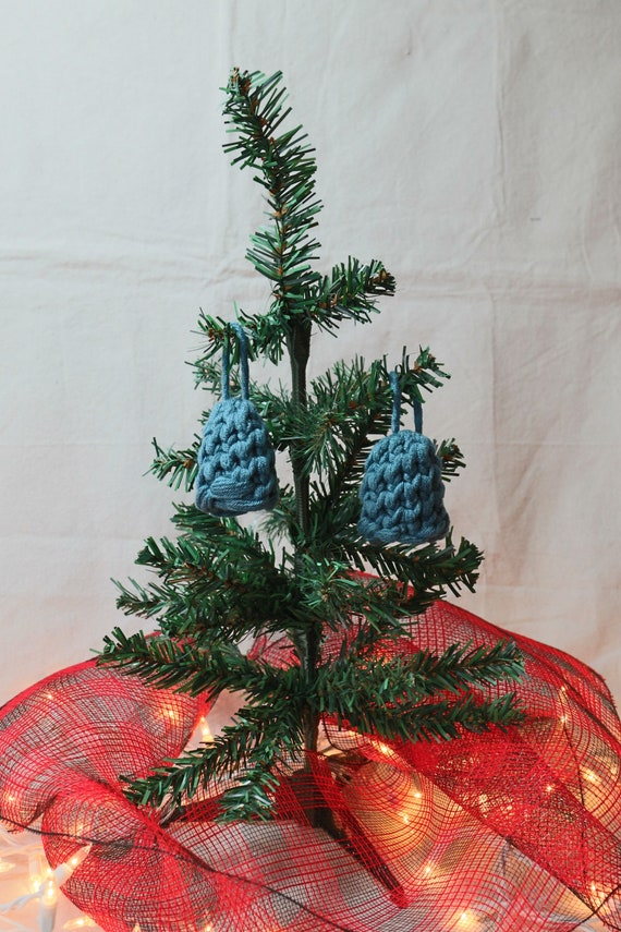 Set of 2 Handknit Christmas Ornaments - Blue Knit Stocking Caps
