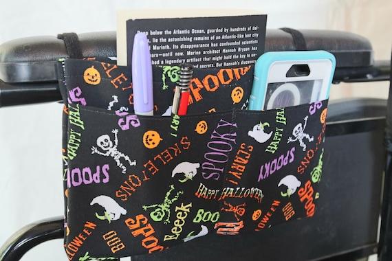 Skeletons, Ghosts and Pumpkins Multiple Pocket Armrest Bag for Wheelchair or Transport Chair