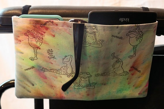 Single Pocket Armrest Bag for Wheelchairs - One of a Kind Hand Painted Fabric