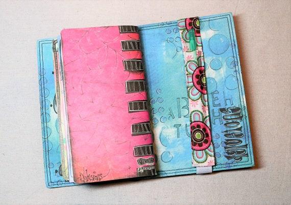 Pink and Teal Flowers Traveler Journal Single Pen Holder, Planner , Journal Pen Holder,  Travel Journal Pen Holder Inside Outside