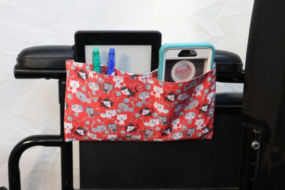 Cats on a peach colored fabric Pocket Armrest Bag for Wheelchair - Optional Snap Closure is Available