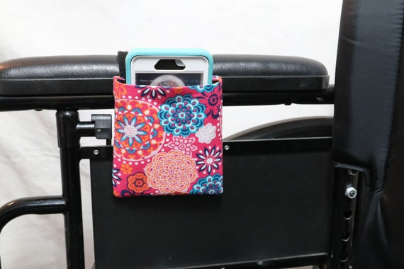 Pink Blue, and Orange Flowers Armrest Hanging Cell Phone Holder for a Wheelchair, Walker or other Mobility Aides