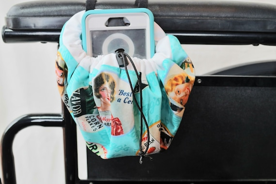 Vintage Advertisement Themed Hanging Cinch Bag for your Wheelchair, Walker or other Mobility Device, Cell Phone Holder
