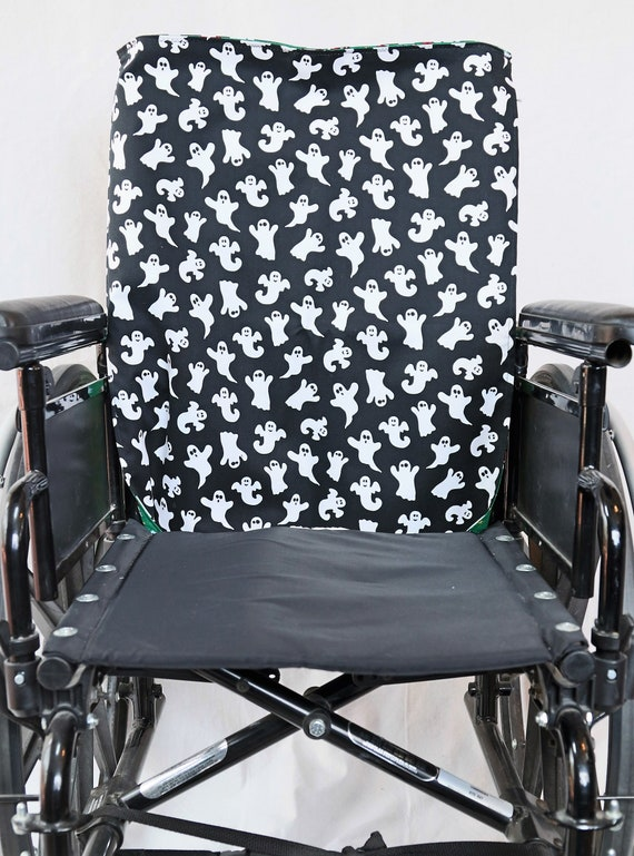 Wheelchair Reversible Manual Wheelchair Seat Cover, Halloween and Christmas Themed Seat Cover, Ghost and Santa Claus Reversible seat cover