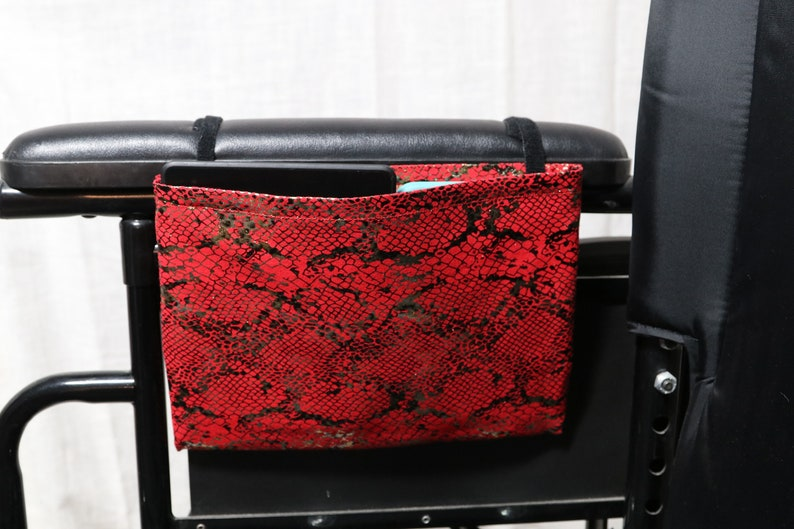 Red and Gold Faux Snake Skin Fabric Wheelchair Armrest Bag Optional Closure Styles Available