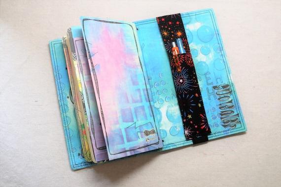 Fourth of July Fireworks Pocket Travelers Journal Multiple Pen Holder, Planner, Journal Pen Holder, Travel Journal Pen Holder Inside Outside