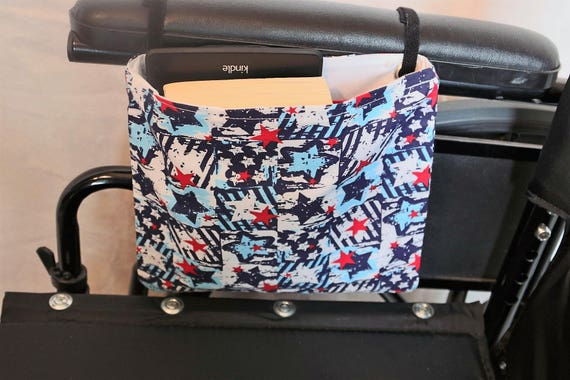 Red, White and Blue Stars Single Pocket Armrest Bag for Wheelchair, Walker or other Mobility Aides