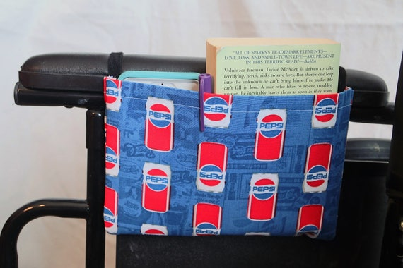 Soft Drink Themed Single Pocket Armrest Bag for Wheelchair, Walker or other Mobility Aides, Optional Closures Styles Available