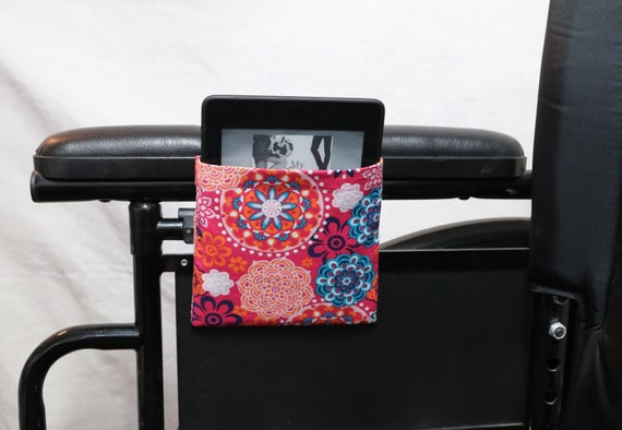 Pink, Orange and Blue Mandala Patterns Armrest Hanging Cell Phone or e-reader Holder for a Wheelchair, Walker or other Mobility Aides