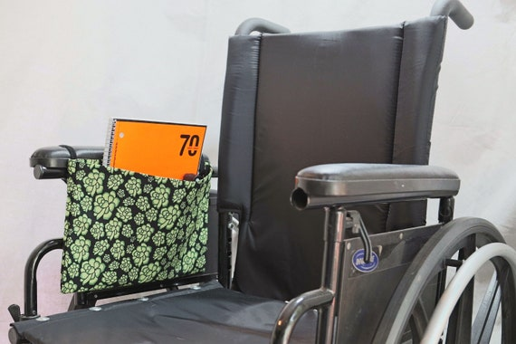 Fun Green Flowers Single Pocket Armrest Bag for Wheelchair - Optional Closure Styles Available