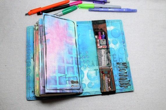 Vintage Ads Travelers Journal Multiple Pen Holder, Planner , Journal Pen Holder,  Travel Journal Pen Holder Inside Outside