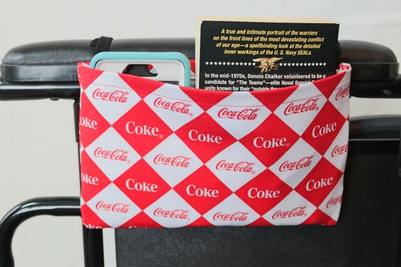 Cola Themed Single Pocket Armrest Bag for Wheelchair - Optional Closure Styles Available